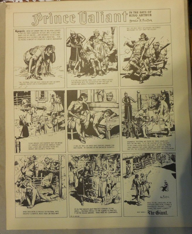 Prince Valiant by Hal Foster Syndicate Proof 5/26/1940  Size 16 x 20 inches