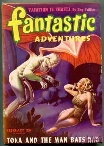 Fantastic Adventures Pulp February 1946- Toka & Man Bats- Spicy cover FN