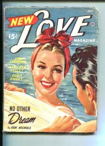 NEW LOVE-JULY1948-ROMANTIC PULP FICTION- PIN-UP GIRL COVER-SWIMSUIT-good minus