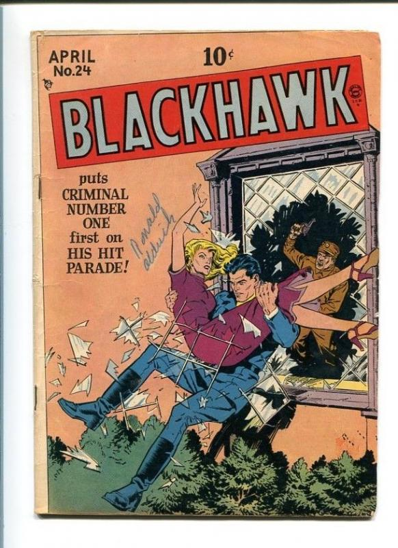 BLACKHAWK COMICS #24-QUALITY-1949-REED CRANDALL ART-GOOD GIRL COVER-VG/FN VG/FN