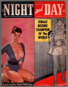 Night And Day  4/1958-spicy pix-female boxing champ Phyllis Kugller-G/VG