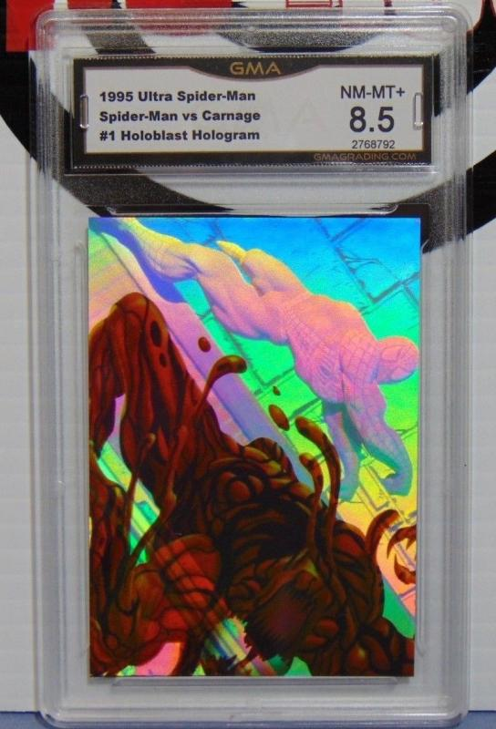 1995 Fleer Ultra Spider-Man vs. Carnage #1 Holoblast Hologram Card - Graded 8.5
