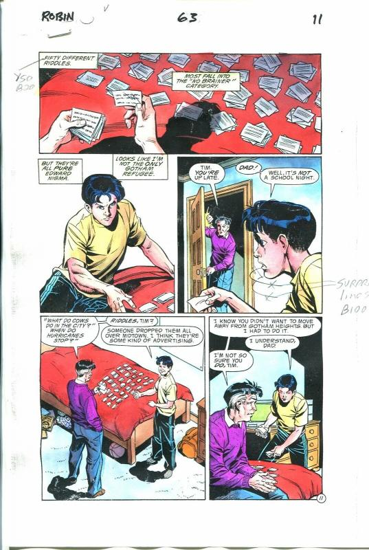 Robin Comics #63 Page 11 Hand Painted Cover Color Guide-comic book art-VG