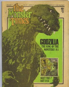 ORIGINAL Vintage 1973 The Monster Times Horror Newspaper Magazine #23 Godzilla