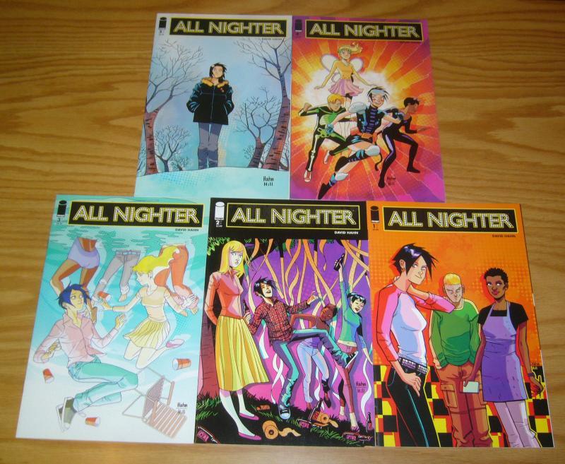 All Nighter #1-5 VF/NM complete series - david hahn - image comics set lot 2 3 4