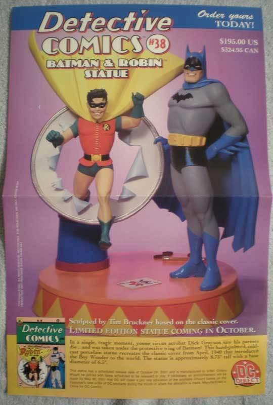 DETECTIVE COMICS #38 BATMAN STATUE Promo poster, Unused, more in our store