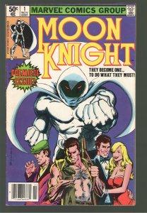 MOON KNIGHT 1 VF- 7.5; NEWSSTAND!1st Series+ ORIGIN Moon Knight! DISNEY PLUS!