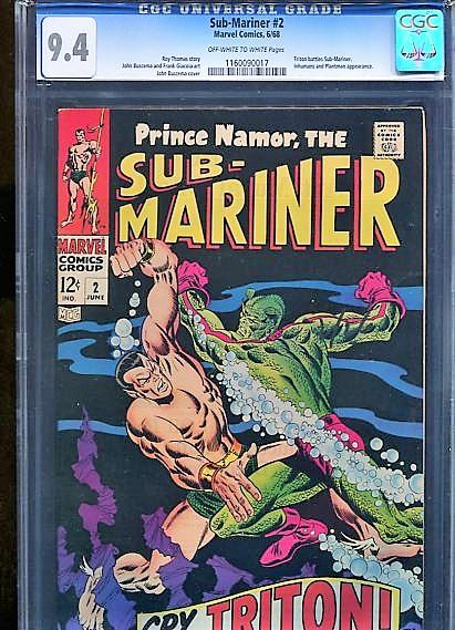 SUB-MARINER  #2  CGC  9.4  OW/W PAGES  (1968)  BEAUTIFUL HIGH GRADE