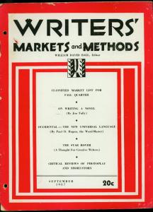 Writer's Markets and Methods September 1937- Pulp Magazines G