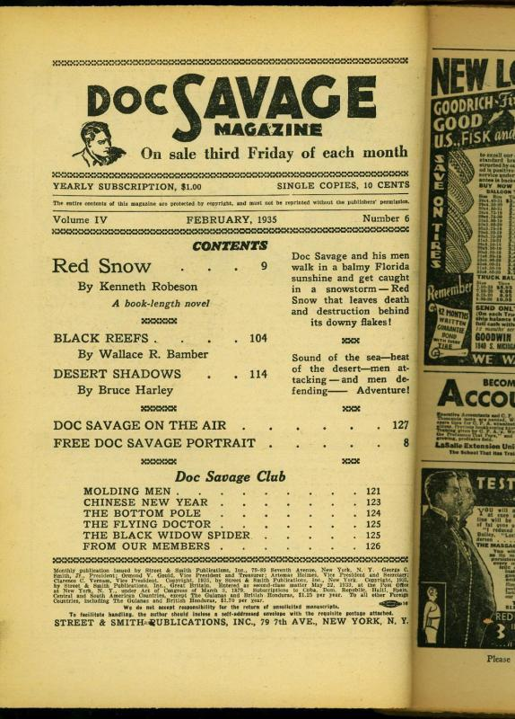 Doc Savage Pulp February 1935- Red Snow- Kenneth Robeson- Bargain copy