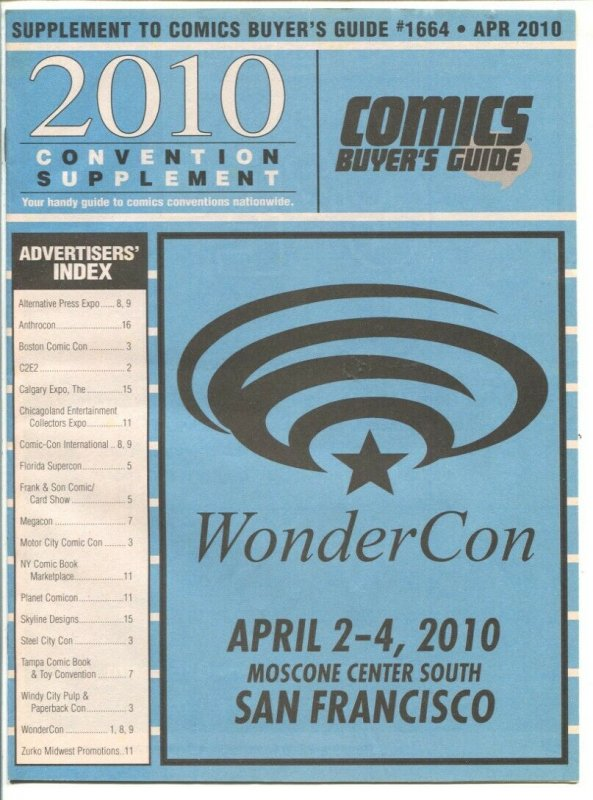 Comic Buyer's Guide Convention Supplement #1664-4/2010-info about cons all ov...