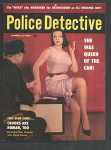 Police Detective 10/1959-Exotic woman gets fingerprinted cover-Scandals-viole...