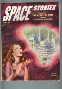 SPACE STORIES 1953 APR-SPACE GIRL COVER-COOL! VF