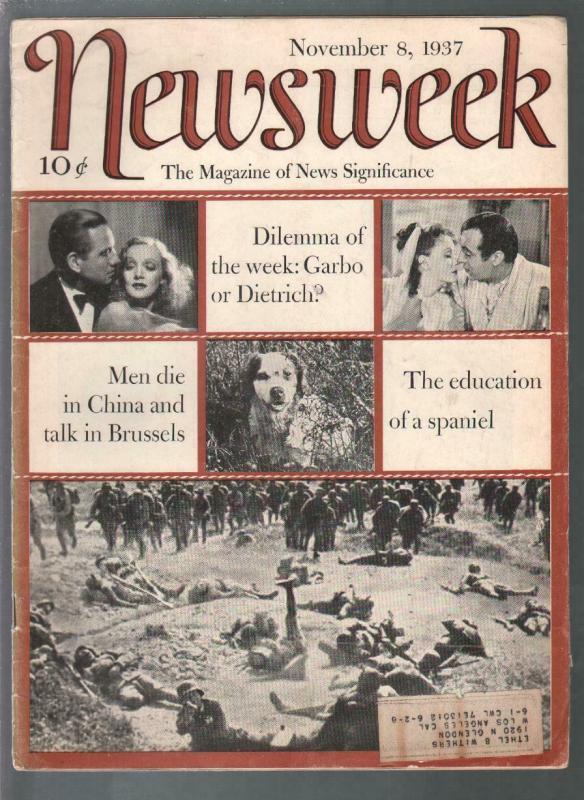 Newsweek 11/8/1937-Garbo-Dietrich-Nazis-New Deal-VG
