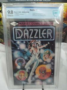 Dazzler #1 CBCS 9.8 B&W Ad Printing Error...(Two ads printed without color)