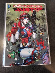JUSTICE LEAGUE # 47 HARLEY'S LITTLE BLACK BOOK VARIANT JIM LEE COLOR