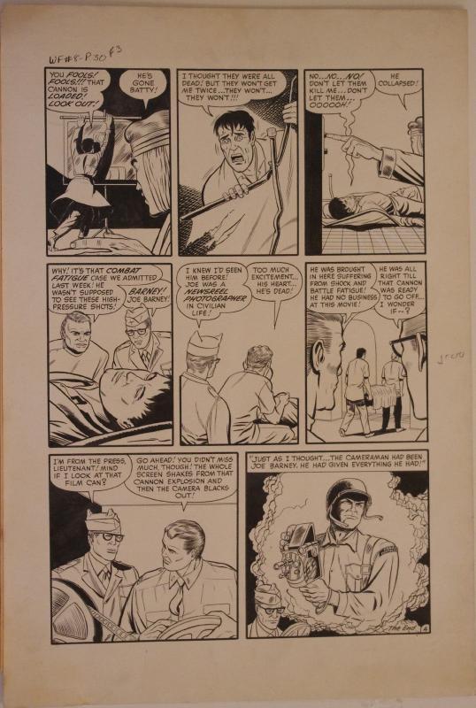 AL GORDON original art, WARFRONT #8, 27 28 29 30, 1952, 4 pgs, PTSD, Newsman,War