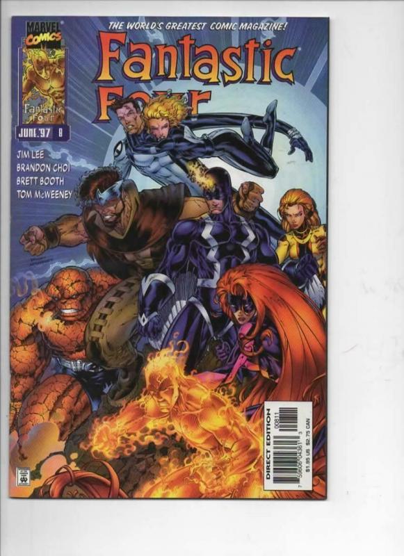 FANTASTIC FOUR #8, Vol 2, NM-, Jim Lee, Human Torch, more FF in store, 1996 1997