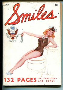 Smiles #1 5/1942-1st issue-WWII era cartoons-Nazi gags-Helly cover-VG+