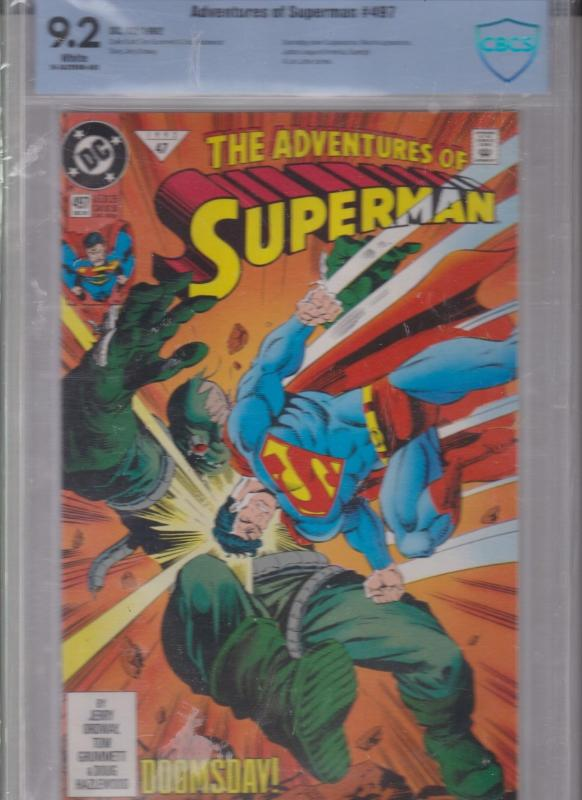 ADVENTURES OF SUPERMAN #497 CBCS 9.2 WHITE  DOOMSDAY