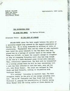 Marvel Comics Incredible Hulk Synopsis by Harlan Ellison - Photocopy