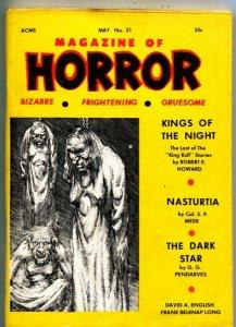 MAGAZINE OF HORROR-BIZARRE-GRUESOME-PULP-KULL-ROBERT E HOWARD-5/1968