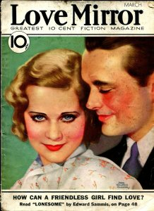 Love Mirror 3/1933-pulp thrills-John Ralston Clarke cover-Fay Wray King Kong-VG