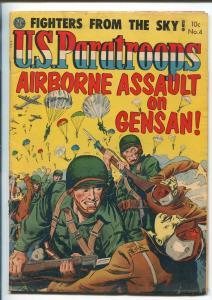 U.S. PARATROOPS #4 1952-AVON-PARACHUTE COVER-KINSTLER-VIOLENCE-TORTURE-fn