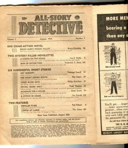 All-Story Detective Pulp August 1949- coverless reading copy