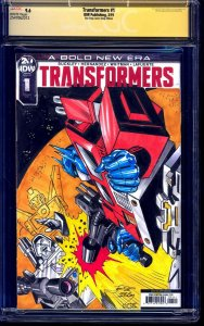 Transformers #1 ONE STOP CGC SS 9.6 signed Optimus v Megatron Sketch Jose Delbo