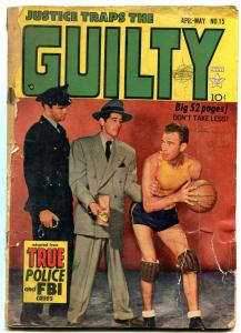 Justice Traps the Guilty #15 1950- Basketball photo cover- FAIR
