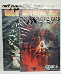 URZA-MISHRA WAR ON THE WORLD OF MAGIC #1 and #2 COMBO NM/M Factory bags W/Cards