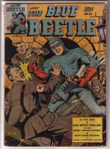 Blue Beetle   (Fox)   #32 PR (page out) punching Hitler cover