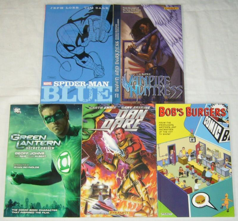 Wholesale lot of (5) TPBs - marvel/dc/more - spider-man blue - (value: $89.95)