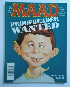 MAD Magazine Proofreader Cover March 1997 No 355 Spin City TV Show Parody Satire