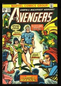 Avengers #123 VF- 7.5 Origin of Mantis!