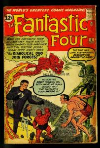 Fantastic Four #6 1962- 2nd Dr Doom - 1st Super Villain Team Up- G-