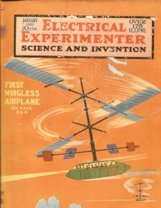 Electrical Experimenter  Jan 1920 -Hugo Gernsback-WINGLESS AIRPLANE COVER-100 YR