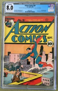Action Comics #28 (1940) CGC 8.0 -- O/W to White pgs Jerry Seigel - Conserved