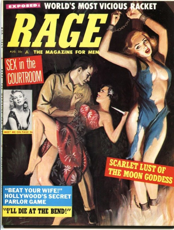 RAGE-AUG 1962-FEMALE TORTURE-PULP-MEDICAL HORROR-CHEESECAKE-IRISH