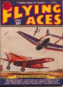 Flying Aces 7/1940-August Schomburg-Nazi Attack-Eric Trant-hero pulp-FN