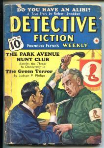 Detective Fiction Weekly 5/18/40-Park Avenue Hunt Club-ORIENTAL MENACE good