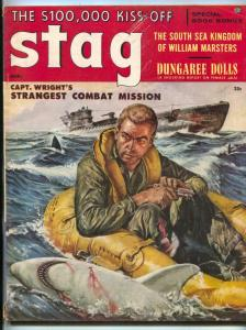 Stag Magazine March 1957- Wild SHARK cover- William Marsters