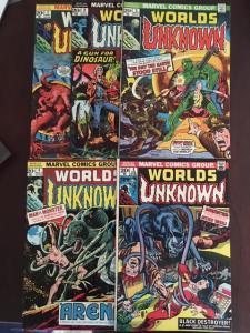 WORLDS UNKNOWN #1, 2, 3, 4, 5 MARVEL BRONZE VF RUN GLOSSY KILLER COPIES