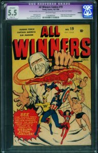 All Winners #19 CGC 5.5 restored 1945- Captain America- Sub-Mariner-  1165582001