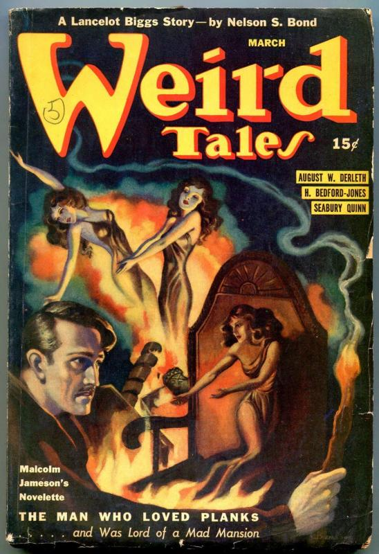 Weird Tales Pulp March 1941- Brundage cover- Seabury Quinn- Nelson Bond VG