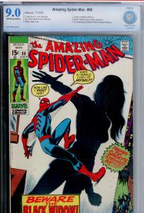 Amazing Spider-Man  #86 CBCS 9.0 OW/WHITE pages, new look BLACK WIDOW (like CGC)