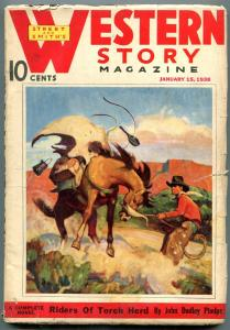 Western Story Magazine Pulp January 15 1938- Riders of Torch Herd VG