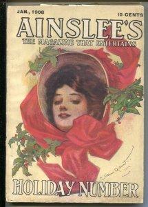 Ainslee's 1/1908 C. Allan Gilbert girl art cover-pulp fiction-Wm MacLeod Rain...