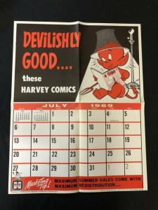 HOT STUFF Harvey Comics Promo Sales Calendar Poster  July 1968